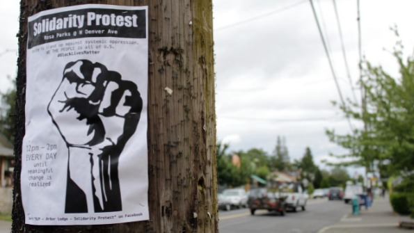 Solidarity Protest flyer with fist on pole